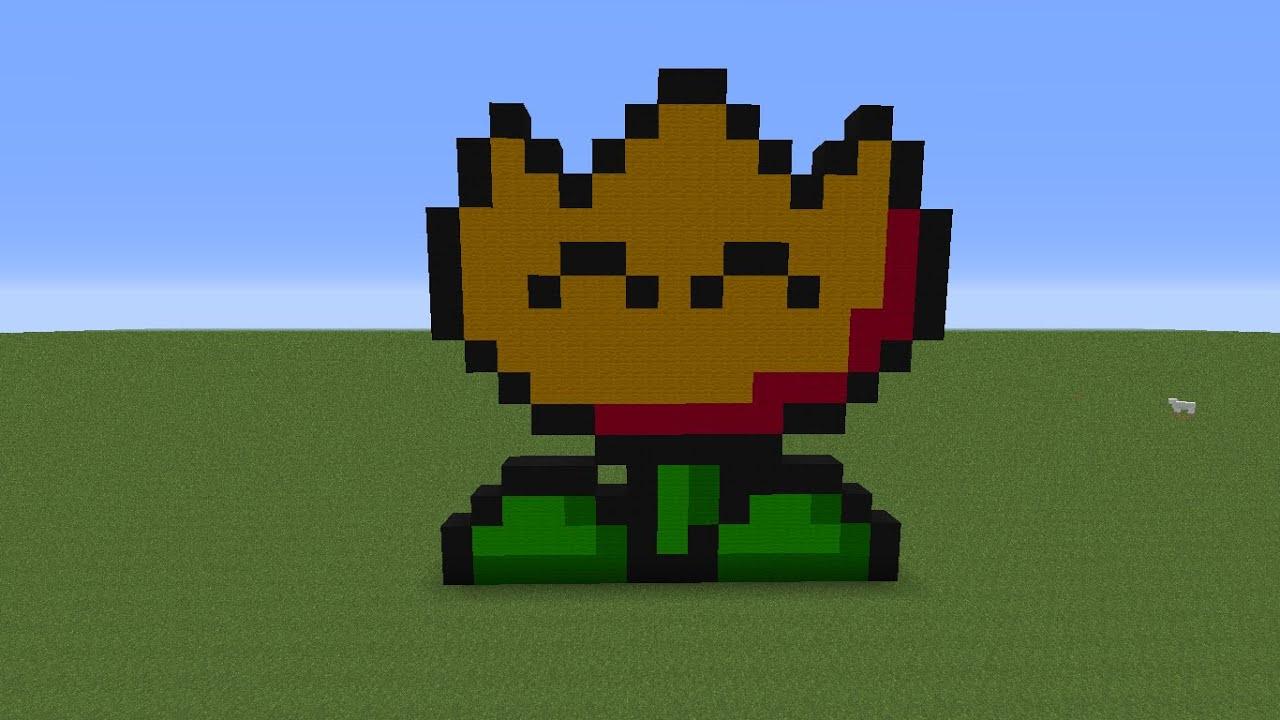 Minecraft Super Mario Fire Flower Pixel Art