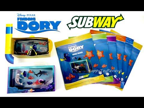 2016 Subway Disney Pixar Finding Dory Movie Kids Meal Toys Set 6