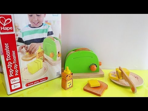 Hape Pop Up Toaster Unboxing - Playfully Delicious Wooden Kitchen Play Set