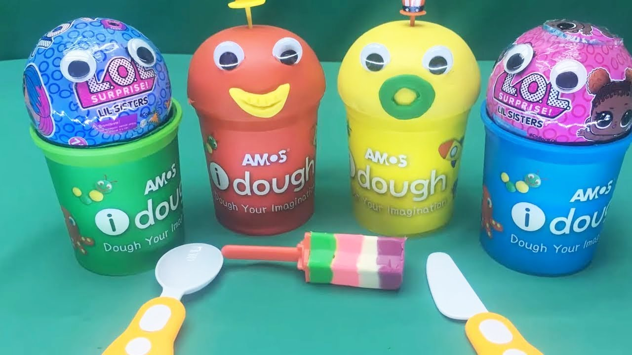 4 Colors Play Doh Cups LOL Surprise Eggs LIL Sisters ...