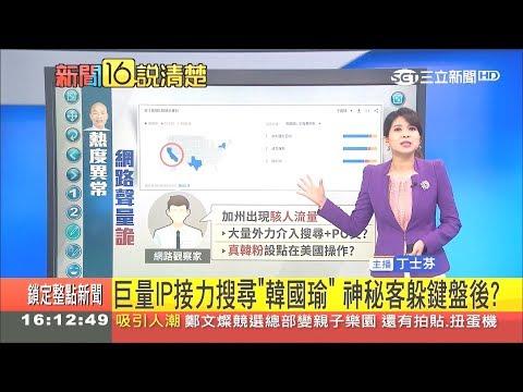熱度異常!韓國瑜網路聲量詭異 巨量IP湧入操作 柯文哲:走勢飆速不合理|主播 丁士芬|【新聞16說清楚】20181116|三立新聞台
