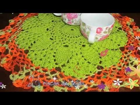 Carpeta o centro de mesa tejido a crochet youtube for Centro de mesa a crochet