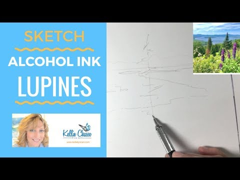 Lupine Sketch - Alcohol Ink Painting Step 1| Masking Fluid on Yupo Paper