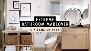 EXTREME BATHROOM MAKEOVER + DIY Faux Shiplap Wall *ON A BUDGET* | XO, MaCenna