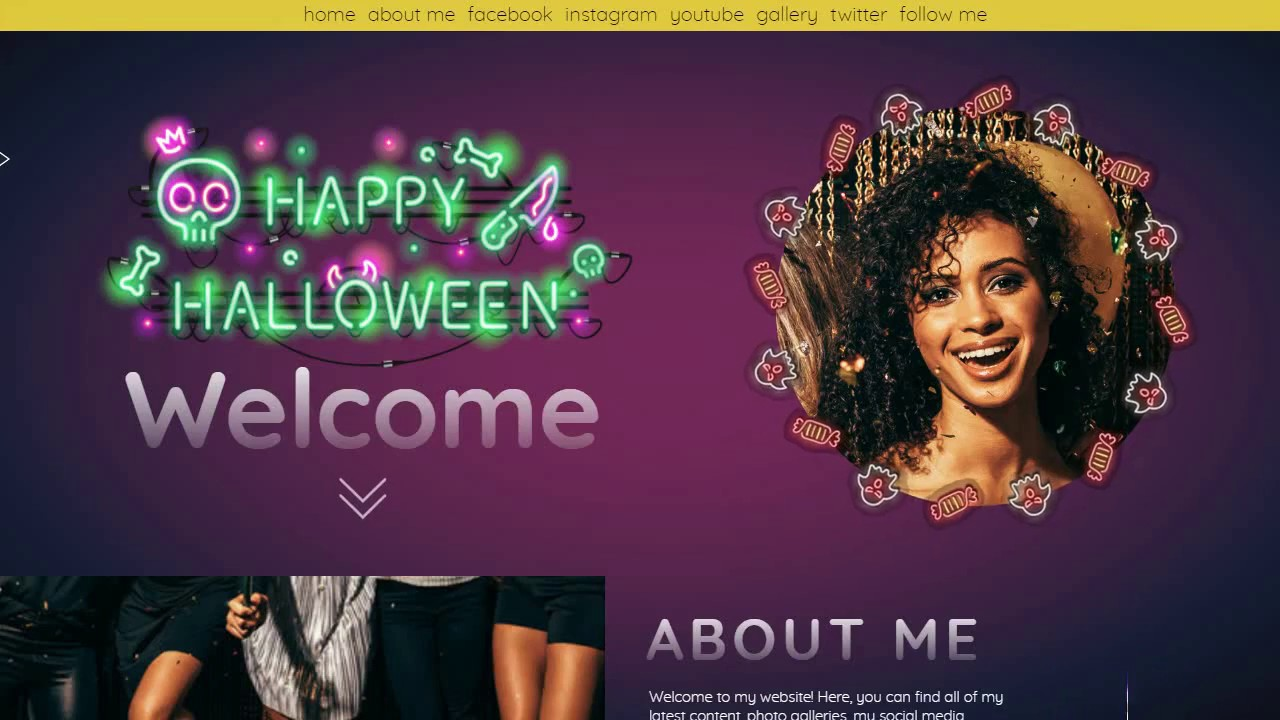 neon halloween website template youtube