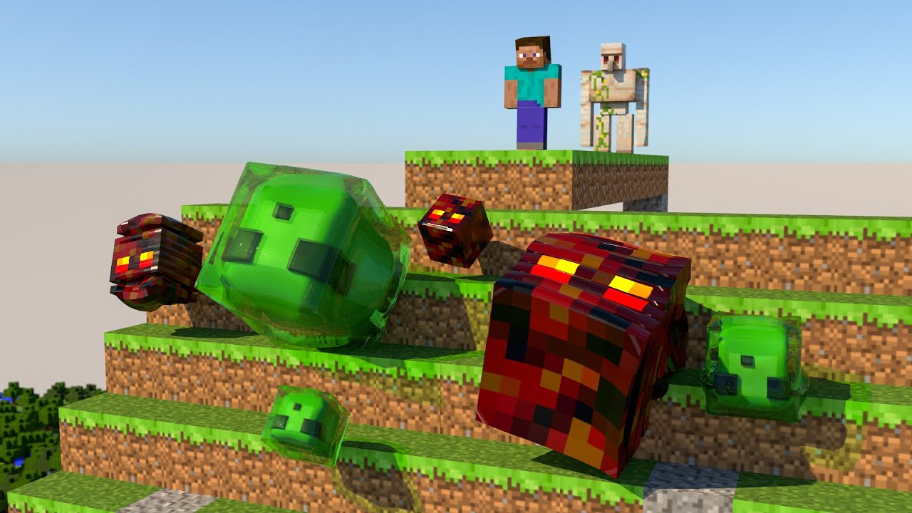 Minecraft - Slime vs Magma Cube [Softbody Race] V2