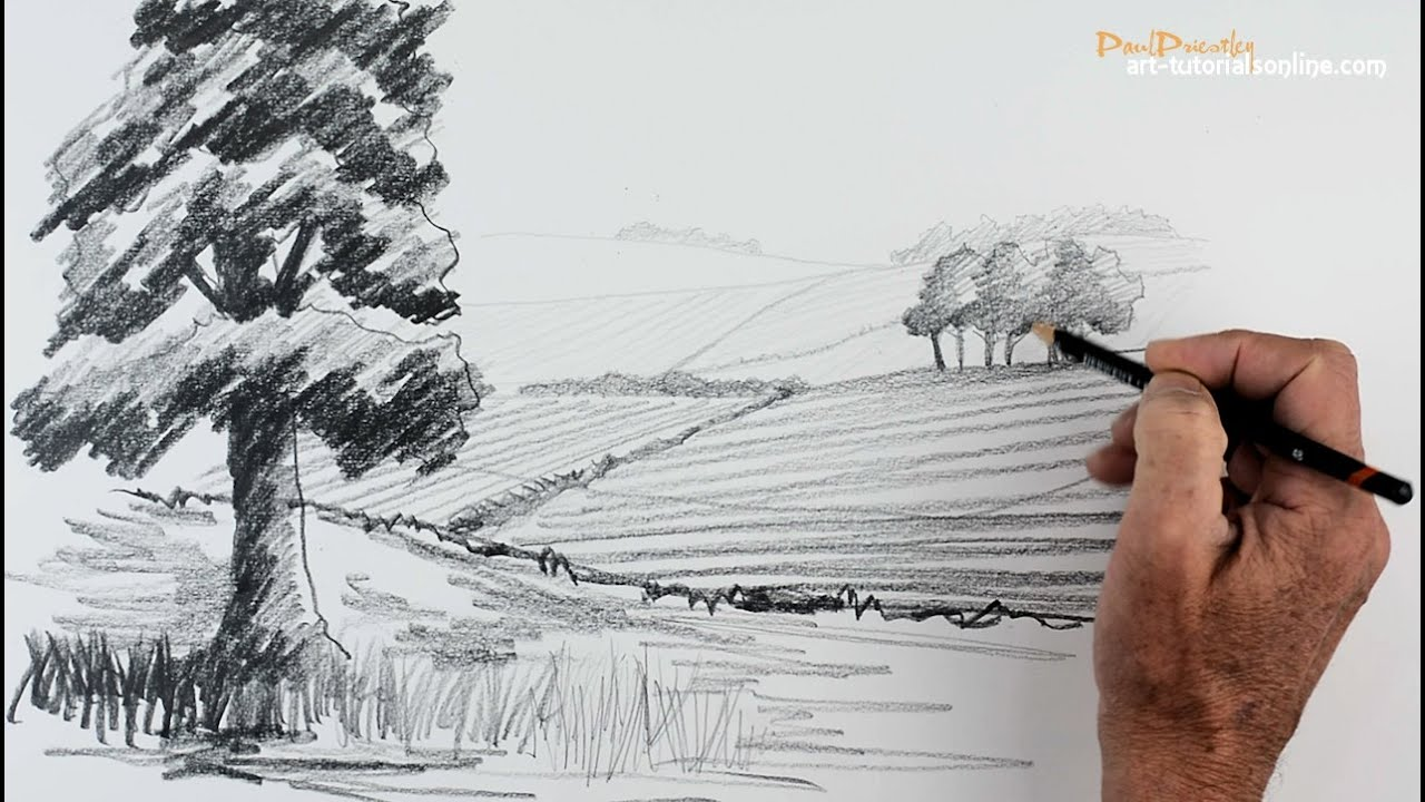 Start drawing part 5 create distance in a landscape for How to make creative drawings