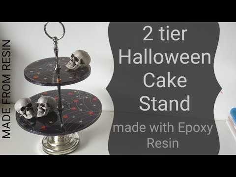 EPOXY RESIN 2 tier Cake Stand Halloween DIY Easy for beginners