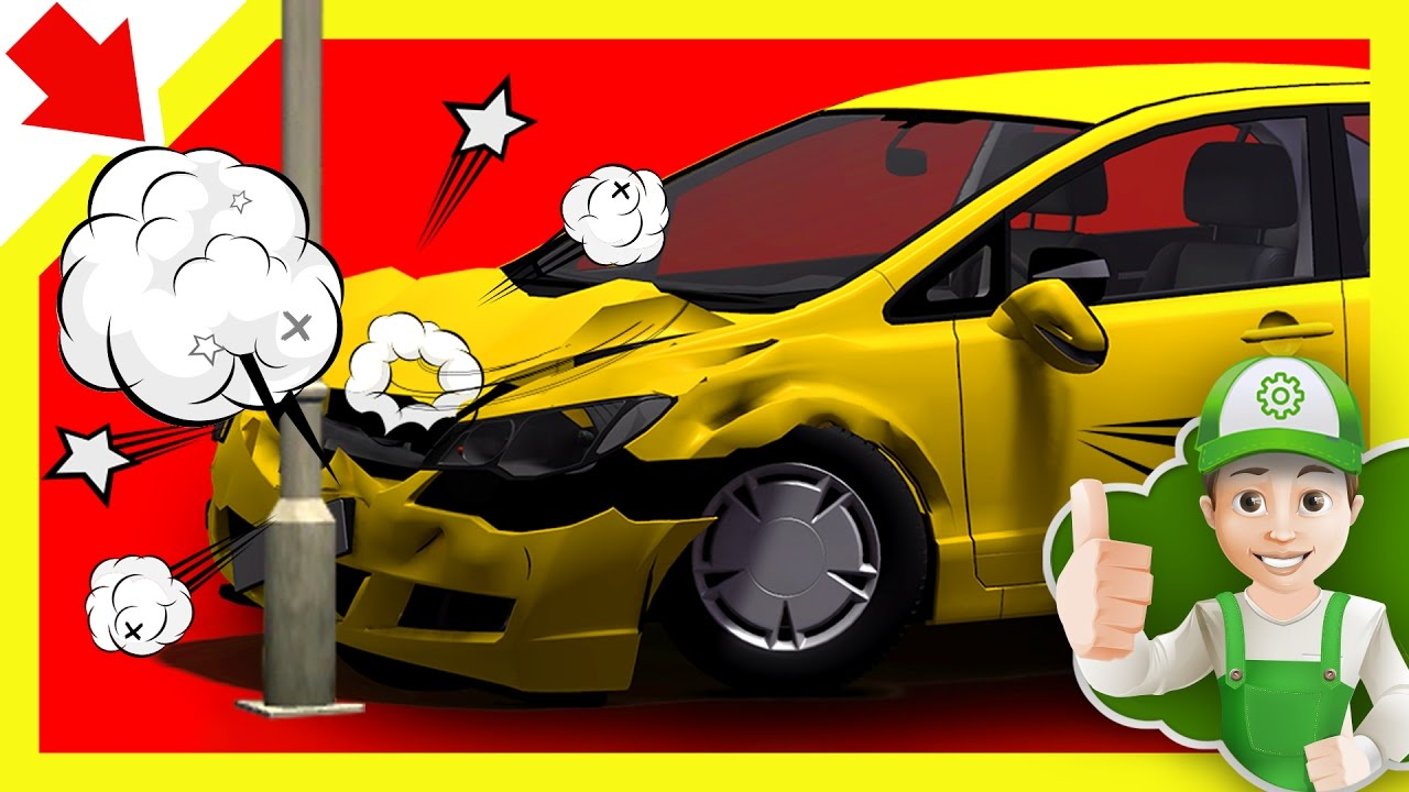 Cartoon about cars Handy Andy in Accident Little Smart