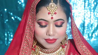 दुल्हन मेकअप कैसे करे|Step by Step Muslim Bridal Makeup by self red gold smokey eyes Bright red lips