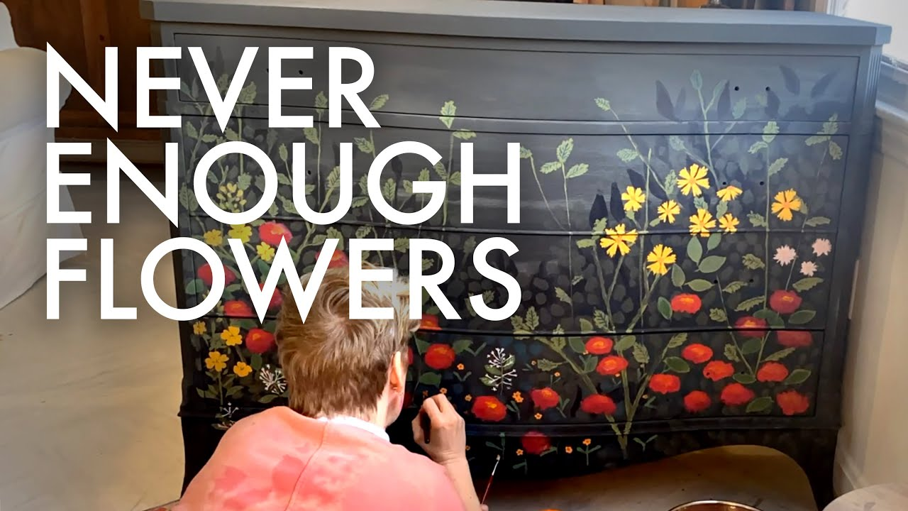 PAINTING FLOWERS : DRESSER MAKEOVER : Adventuring Family of 11