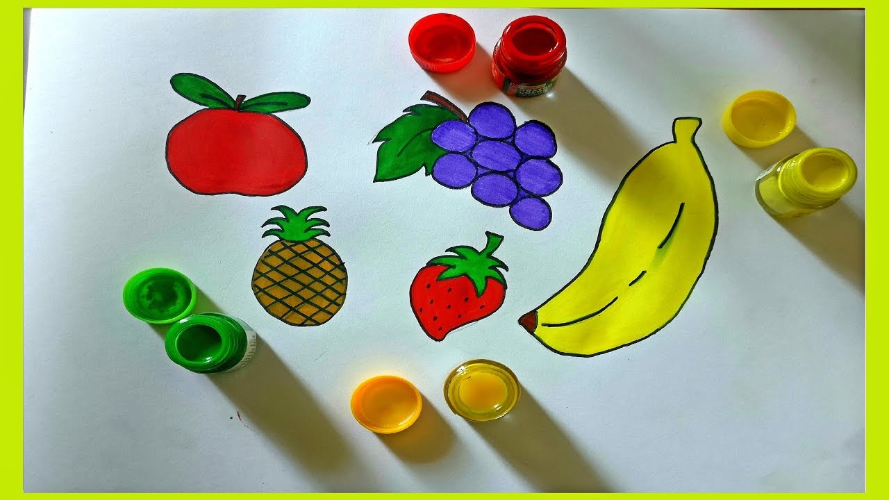 how to draw fruits for kids drawing u0026 coloring for kids crayon