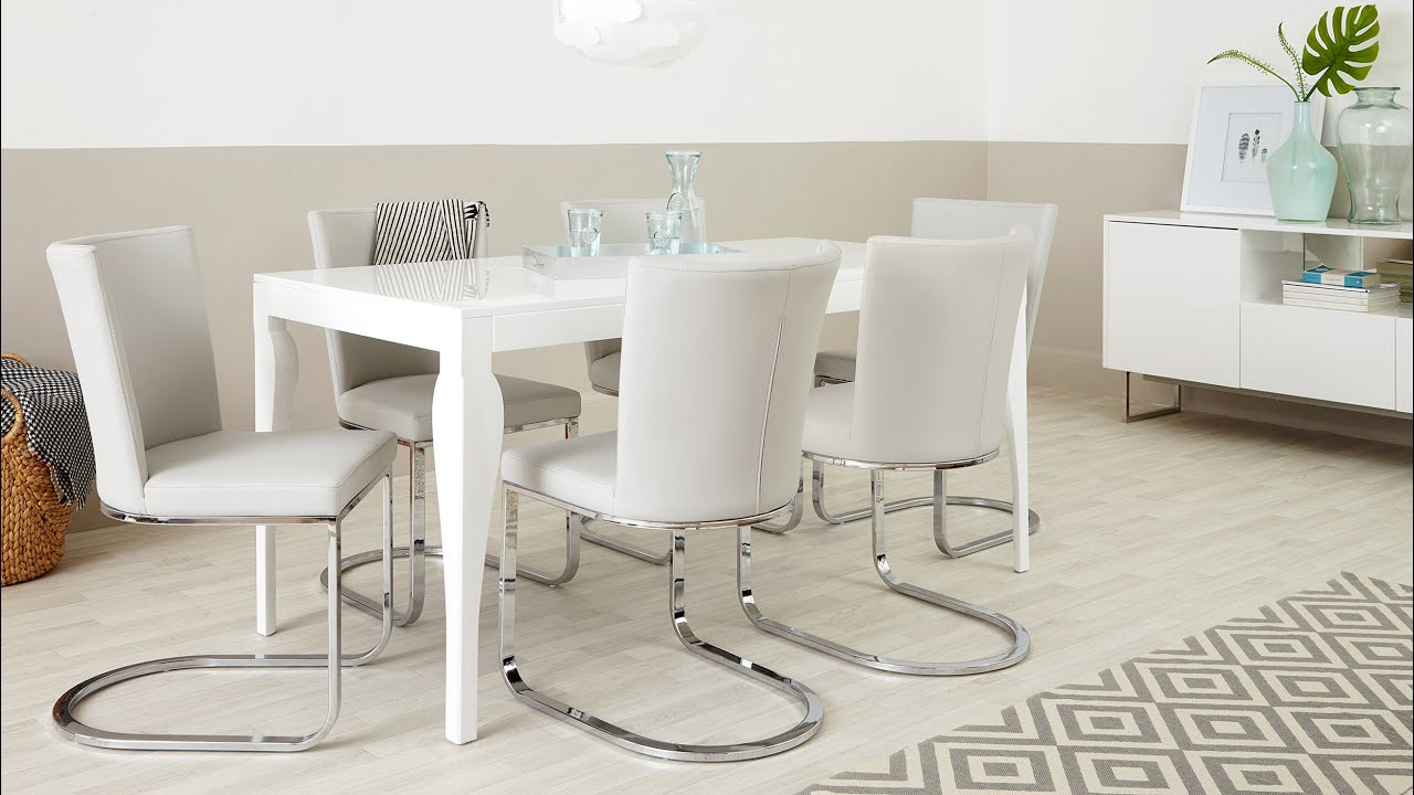 modern white gloss dining table and designer chairs youtube. beautiful ideas. Home Design Ideas