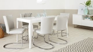 Modern White Gloss Dining Table and Designer Chairs