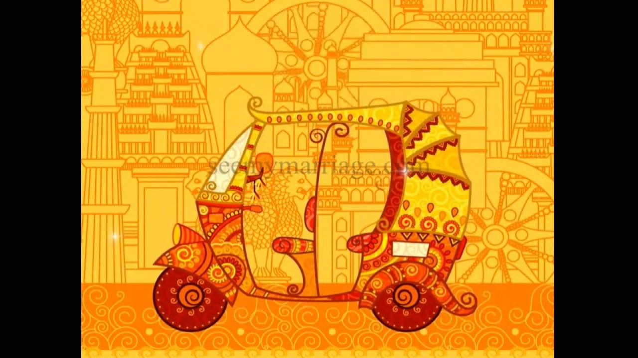 Auto Raja Rani Rajasthani Theme A Golden Animated Traditional Colourful Wedding Invitation