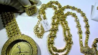 lemonade combo 4 lab made yellow diamond watchrosaryringearrings gucci mane jewelry