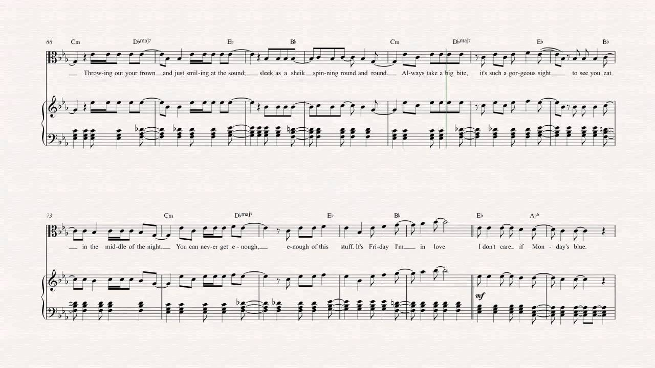 Viola - Friday I\'m in Love - The Cure Sheet Music, Chords ...