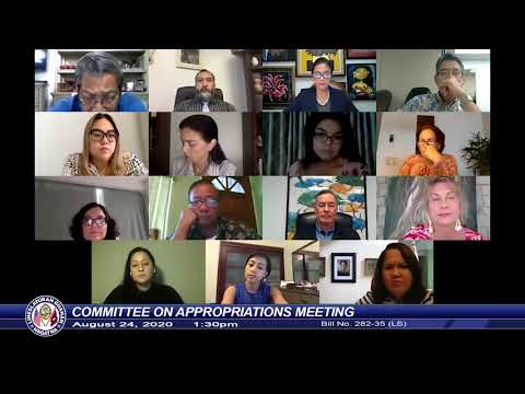 Committee On Appropriations Meeting - Senator Joe S. San Agustin - August 24, 2020 1:30pm
