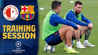 First workout to prepare the Champions League game against Slavia Prague