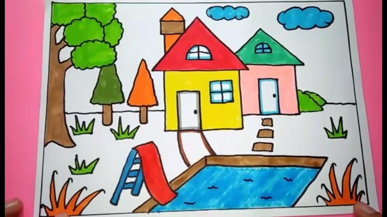 Cara Menggambar Dan Mewarnai Rumah Dengan Kolam