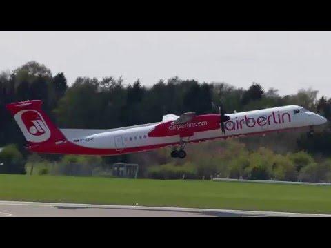Air Berlin Bombardier Dash 8 Q400 D-ABQP: Takeoff from Hamburg [EDDH] | Flight AB6751