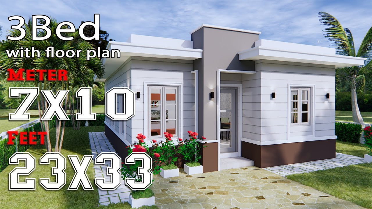 House Design 7x10 with 3 Bedrooms Terrace Roof - House Plans S