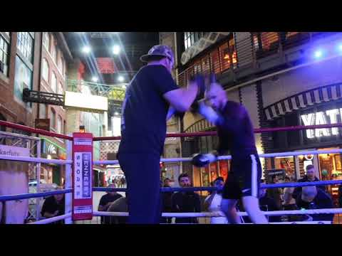 FORMER WORLD TITLE CHALLENGER JIMMY KELLY HAMMERS THE PAD WITH LEE BEARD / PARKER v FURY
