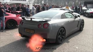 Nissan GT-R R35 w/ Straight Pipes! Accelerations,Revs & Flames!