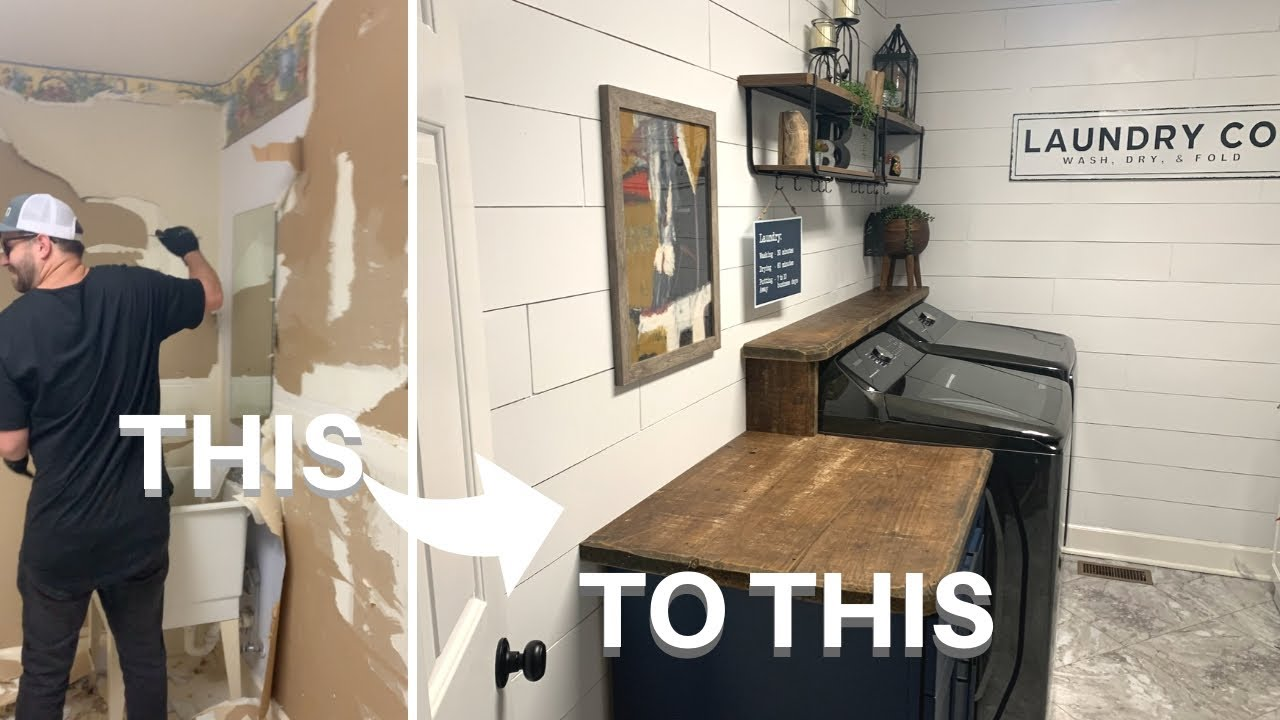 Laundry Room Makeover  DIY Faux Shiplap