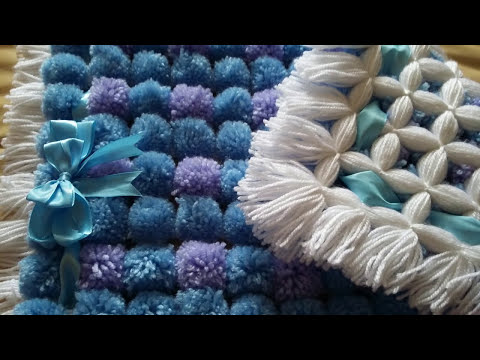 POM POM BLANKET  - How to do two diffrent color poms - Pattern 2