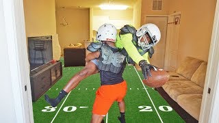WE PLAYED TACKLE FOOTBALL IN THE HOUSE & DEESTROYED OUR LIVING ROOM!!!