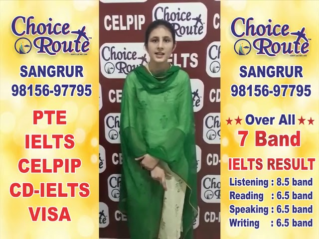 Congratulations Jagvir Kaur - Choice Route is the Best PTE and IELTS institute in Sangrur City.