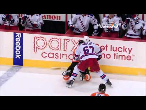 Benoit Pouliot boarding major on Maxime Talbot NY Rangers vs Philadelphia Flyers 10/24/13 NHL