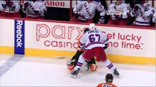 Benoit Pouliot boarding major on Maxime Talbot NY Rangers vs Philadelphia Flyers 10/24/13 NHL