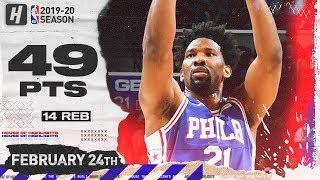 Joel Embiid CAREER-HIGH 49 Pts Full Highlights   Hawks vs 76ers   February 24, 2020
