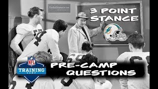 Football Gameplan's 3 Point Stance - Dolphins Pre-Camp Questions