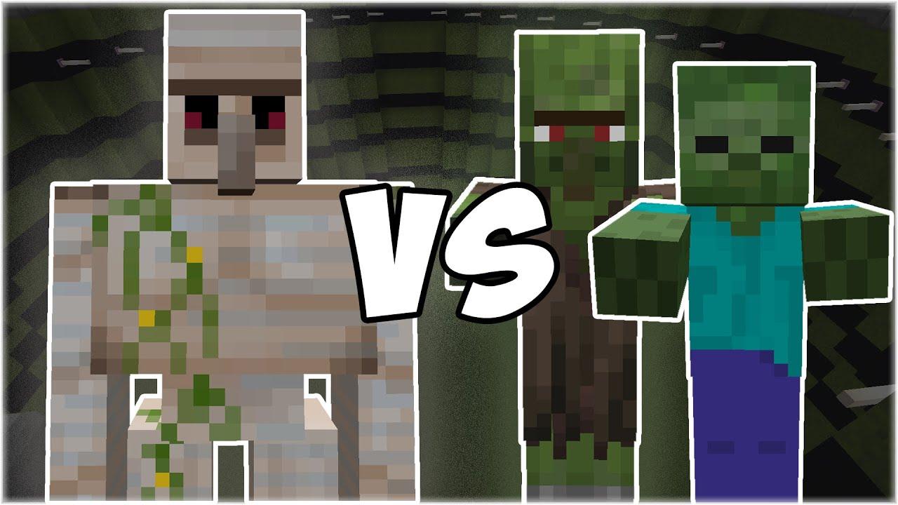 Iron Golem vs Zombie Army (Zombie, Zombie Villager) - Minecraft Mob Battle