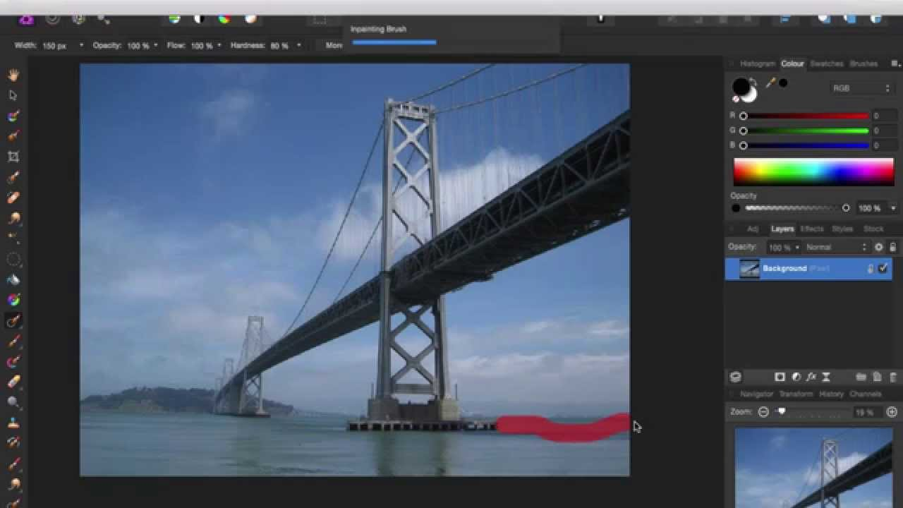 How to use the Inpainting tool or make something dissapear on Affinity Photo