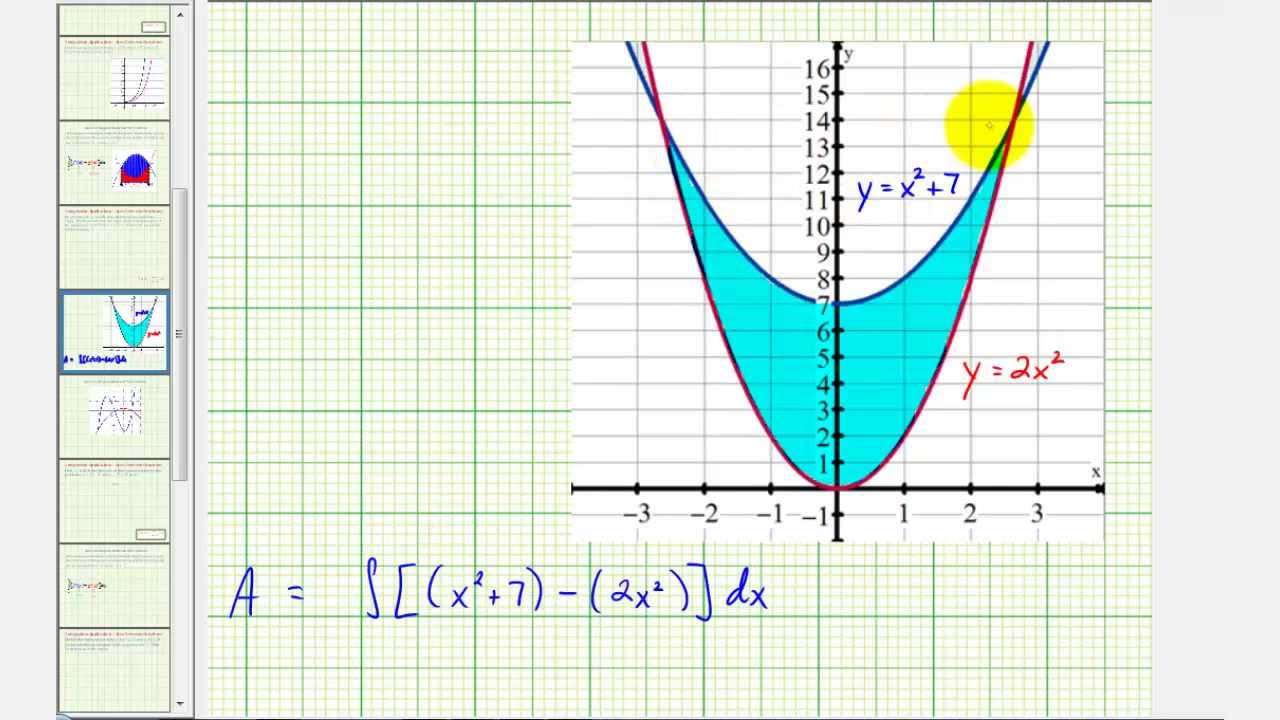 Ex 4: Find Area Between Two Quadratic Functions (respect To X)