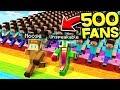 500 FANS VS RAINBOW ROAD IN MINECRAFT! WITH UNSPEAKABLEGAMING & MOOSECRAFT