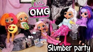 Barbie LOL Doll Family Night Routine - Sleepover Party with OMG Dolls