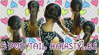 Ponytail Trick : 10 Heatless Ponytail | Quick and Easy Hairstyles  | Indian || Part 1
