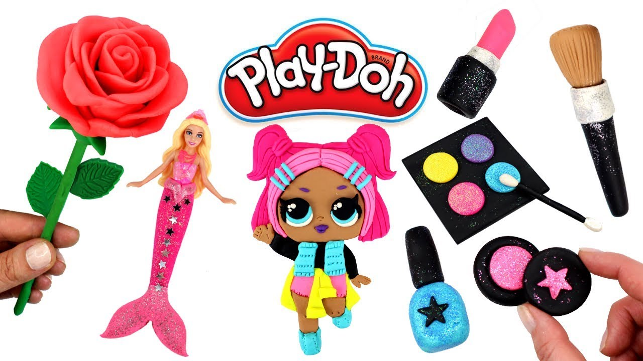 Play Doh Things to Make Fun with Modelling Clay LOL Doll Makeup Set Rose  Flower Barbie Mermaid Tail