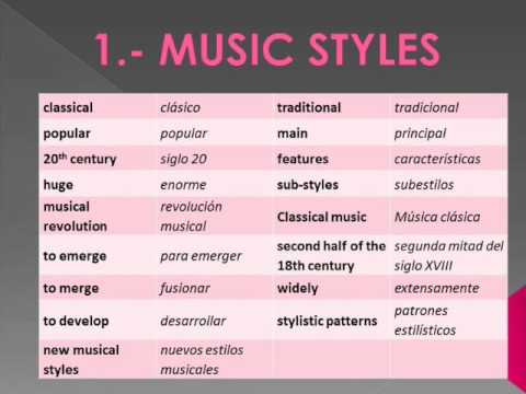 1.-MUSICAL STYLES. EXERCISE 2. VOCABULARY 1.