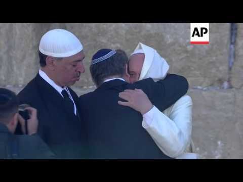 Pope Francis visits Western Wall, the holiest place where Jews can pray