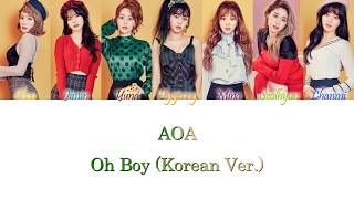 AOA (에이오에이) - Oh Boy (Korean Ver.) Han/Rom/Eng Color Coded L…