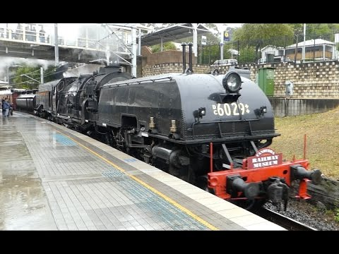Australia - Diesel & Steam Trains under the wires at Gosford