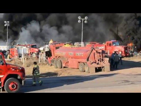 Okla. firefighters battling oil rig fire