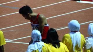 Zaki Sapari, 400m hurdles men Heat #1 Round #1 (LONGER VERSION) - SEA Games 2011