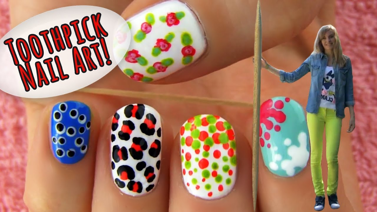 Nail Design Ideas Easy nail art tape Toothpick Nail Art 5 Nail Art Designs Ideas Using Only A Toothpick Youtube